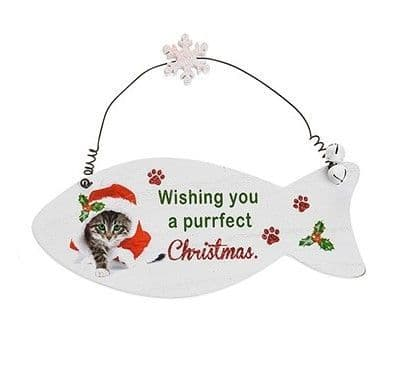 Santa Paws Fish Plaque Cat - wishing you a purrfect christmas